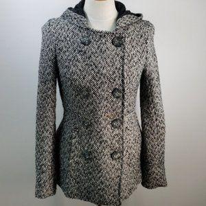 AEROPOSTALE Black/White Hooded Button Up Jacket L